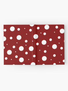 """Red Mushroom, asymetric polka dot pattern, white circles"" Hardcover Journal by cool-shirts"