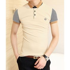 11.74$  Buy now - http://di8ki.justgood.pw/go.php?t=YL3490104 - Trendy Color Block Turn-down Collar Stripes Short Sleeves Polyester Polo Shirt For Men 11.74$