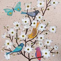 Dogwood flowers & birdies  Cornejo florido y pajaritos