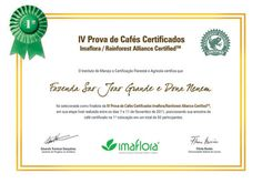 Certificado para fazenda vencedora do concurso de cafés com o selo Rainforest Alliance® - 2011