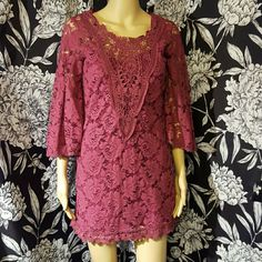 NWT floral lace dress Beautiful & unique rose print lace dress. With bell 3/4 sleeves & crochet detail on front. Coordinating slip underneath. Flying Tomato Dresses Mini