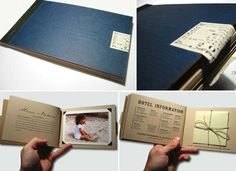 This amazing hardcover invitation booklet was created by graphic designer Ryan Masuga for his own wedding in 2003