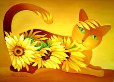 tomcat - Painting,  40x30 cm ©2010 door Tetiana Gorbachenko -  Schilderij, Olie