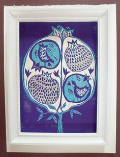 linocut Pomegranate tree in Purple and turquoise by artcanbefun, $60.00