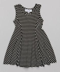 Another great find on #zulily! Black & White Stripe Skater Dress - Toddler & Girls #zulilyfinds