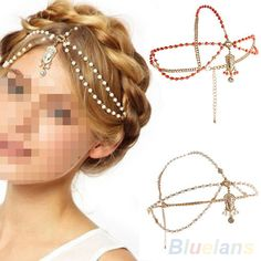 Gold Multilayer Pearl Chain Bead Crown Tikka Head Hair Cuff Headband Headpiece #AtlantaMart2005US