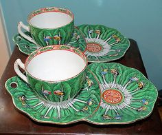 Chinese Teacup and Saucer Set, Hand Painted Porcelain