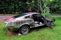 A road-trip to an upholstery shop leads us to a 1967 Lime Gold Ford Mustang Shelby GT500 fastback, apparently abandoned and left for dead.