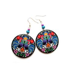 Black Friday Etsy Polish Folk earrings decoupage by SaboDesign, $19.00