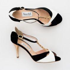 Comme il Faut Tango Shoes - Negro blanco y dorado heel 7cm