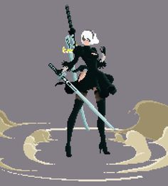 Nier/Nier: Automata and Drakengard Trilogy. Discussions on the games, art books,. Cool Pixel Art, Anime Pixel Art, Animation Reference, Art Reference, Boca Anime, Chica Gato Neko Anime, Arte 8 Bits, Drakengard Nier, Character Art