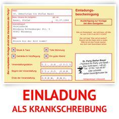Einladungskarten - Einladungskarten als Krankschreibung in gelb - ein Designerstück von Kartenmachen-de bei DaWanda