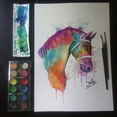 Cavalo em aquarela #watercolor #aquarela #cavalo #horse