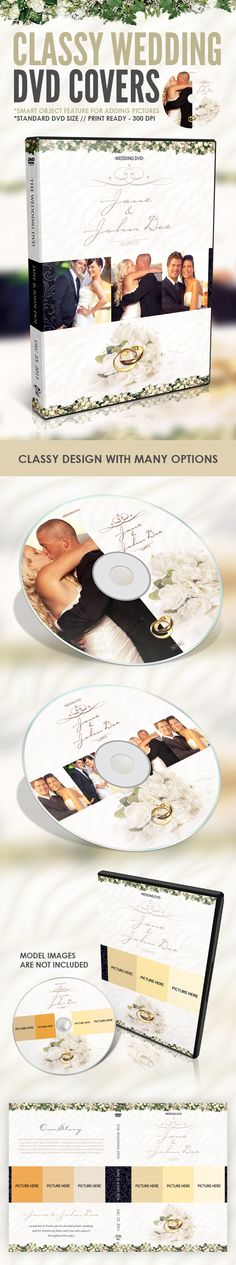 A CLASSY WEDDING DVD COVER AND DISC LABEL. IT'S YOUR BEST CHOICE EVEN IF YOU OR YOUR CLIENTS WEDDING DOESN'T HAVE A THEME.