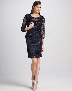 Kay Unger New York Sequined Lace Peplum Cocktail Dress Bolero