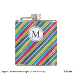 Diagonal multi-colored stripes personalized hip flask