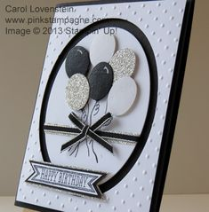 Punch Art – Sketched Birthday Balloon Bunch First in a trio of Black & White.  See Pinkstampagne.com Posts for details.