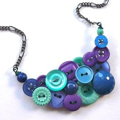 Cool Colors Aqua Bright Blues and Purples button necklace by buttonsoupjewelry, $33.00