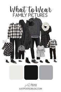 What to Wear for Family Pictures - Black and White Source by ideas for family pictures fall Fall Family Picture Outfits, Winter Family Pictures, Christmas Pictures Outfits, Family Pictures What To Wear, Family Picture Colors, Family Portrait Outfits, Christmas Pics, Family Posing, Family Pics