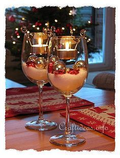 These Christmas Wine Glass Centrepieces are a beautiful decoration for your table. They'll make a lovely gift too.