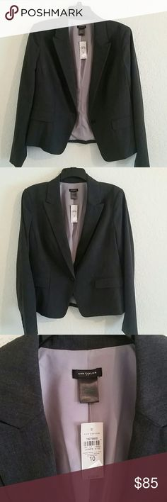 New Ann Taylor blazer Ann Taylor single button charcoal blazer. Size 10. Never worn, brand new with tags. Machine washable. 4 buttons on cuffs. English/double vent. Bought for conference, then realized it was a casual event. Ann Taylor Jackets & Coats Blazers