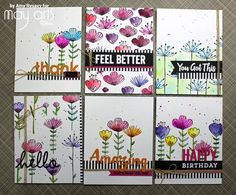 Sketched Blooms Card Set using Peerless Watercolor by Amy R. @amyrysavy #MFT #peerlesswatercolors