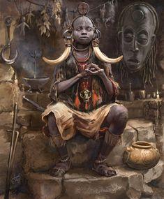 Kai Fine Art is an art website, shows painting and illustration works all over the world. Arte Peculiar, African Mythology, Tribal Warrior, Arte Tribal, Arte Obscura, Africa Art, African Tribes, African American Art, Black Art