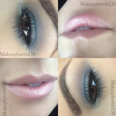 Soft blues and pinky nudes makeup