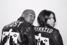 Kim and Kanye in matching Just Married jackets