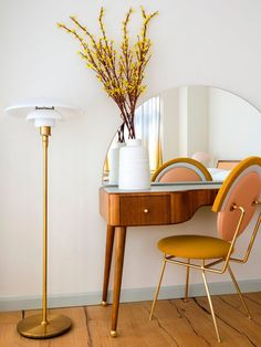 Ombre Curtains In This NYC Apartment Provide Sunset Views dream desk // arched mirror over a mid-century desk Home Bedroom, Bedroom Decor, Design Bedroom, Bedroom Girls, Decor Room, Bedroom Ideas, Ombre Curtains, Pastel House, Diy Bathroom Decor