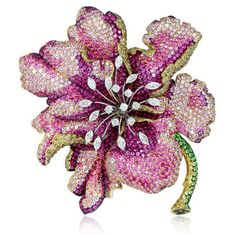 Pink sapphire,diamond,rubellite and demantoid garnet flower brooch