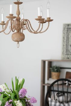 Diy brass chandelier makeover on the cheap pinterest brass faux wooden chandelier how to aloadofball Images
