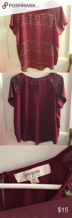 Umgee sheer Aztec top with buttons on the back. Short sleeve sheer Aztec print top with button closure on the back. umgee Tops Blouses