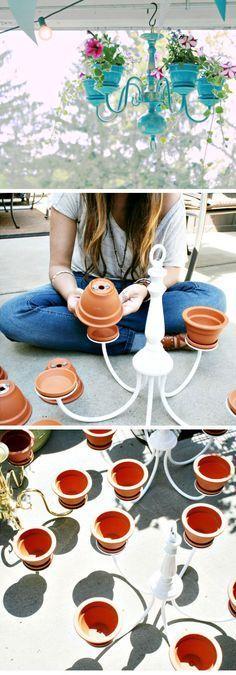 Chandelier Planter Tutorial | DIY Garden Projects Ideas Backyards | DIY Garden Decoartions Budget Backyard