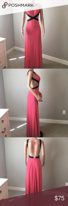 Sexy pink gown Glamorous peachy pink dress with black beaded details 😍 has a bit of a train but the mannequin is tall. Ties in the back, zipper closure. Check out my other gowns! Shimmer by Bari Jay. Bought at Bloomingdales. Dresses Prom