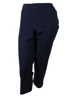 Ralph Lauren Womens Flat Front Cropped Pants 22W Navy * Learn more by visiting the image link.
