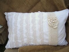 Hand made/hand sewn/cottage chic/shabby chic decorative pillow. $40.00, via Etsy.