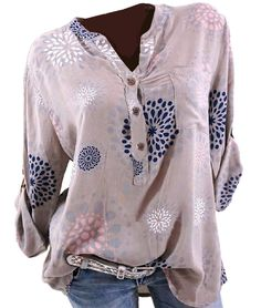 AmyDong Women Solid Color Top Women Solid Color Blouse Flare Sleeve V Neck Loose Shirt Casual T-Shirt