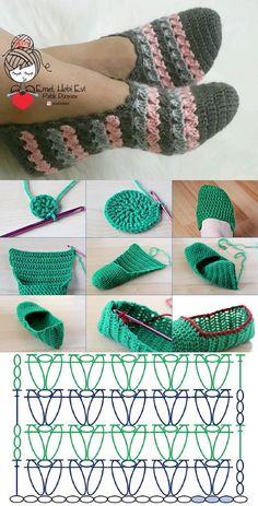Easy Crochet Slippers, Crochet Slipper Pattern, Crochet Sandals, Crochet Baby Shoes, Crochet Clothes, Crochet Bag Tutorials, Crochet Stitches For Beginners, Crochet Flower Tutorial, Diy Crochet