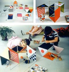 The smaller scale of The Little Toy (top left) allowed children and adults to create their own architectural models (top right, bottom), 1952. © Eames Office, LLC