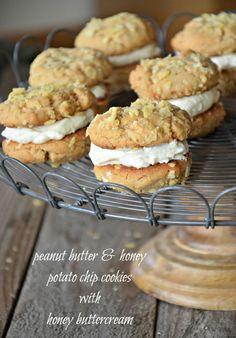 peanut butter + honey potato chip sandwich cookies with honey buttercream.