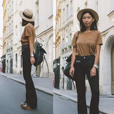 Get this look: http://lb.nu/look/7645680  More looks by Stephanie Liu: http://lb.nu/honeynsilk  Items in this look:  Everlane Shirt, 7 For All Mankind Jeans   #chic #retro #street