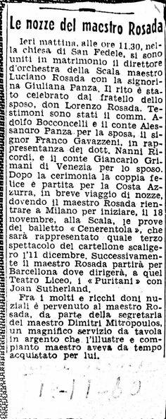 Luciano Rosada - wedding on Corriere della sera - 1960