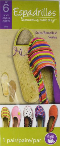 Adult Espadrille Soles - Dritz® Espadrilles is a collection of DIY shoemaking products for crafting easy-sew espadrilles for adults, kids and toddlers; use these Dritz® Espadrilles jute soles adult size 6 to make your own espadrille shoes.
