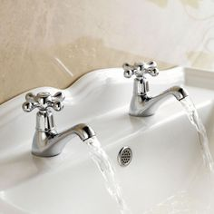 Shop for Enki Twin Hot Cold Basin Taps New Bathroom Period Victorian Plumbing Chrome Windsor. Starting from Choose from the 2 best options & compare live & historic plumbing fixture prices. Bathroom Sink Taps, Bath Taps, Bathrooms, Bathroom Stuff, Traditional Baths, Traditional Bathroom, Sink Mixer Taps, Basin Mixer, Shower Basin