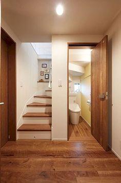 under stairs washroom ideas Stairs Design Modern Ideas Stairs washroom Bathroom Under Stairs, Toilet Under Stairs, Home Stairs Design, House Stairs, Stairs Window, Small House Design, Bathroom Interior Design, Washroom Design, Small Spaces