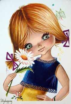 Big Eyed Girl with Daisy, Vintage postcard by Gallarda Vintage Greeting Cards, Vintage Postcards, Vintage Images, Vintage Art, Illustration Mignonne, Cute Illustration, Bisous Gif, Abc Poster, Art Mignon