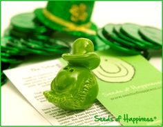 It's time to get your green on...green SMILES that is! This year, you and your friends can celebrate St. Patrick's Day with our Leprechaun Seed of Happiness. Share the green, share the Smiles!  All seeds are handmade, fired and glazed in the USA.