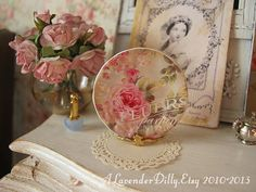 Fluers Elegance in Champagne Plate for Dollhouse by alavenderdilly, $4.00