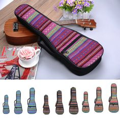 "21""/23""/26"" Knitted Canvas Ukulele Backpack Dual shoulder Straps Uke Carry Case"
